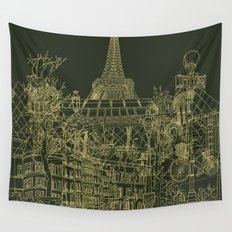 Paris! Olive Wall Tapestry