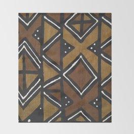 African Pattern - African Mudcloth Design Throw Blanket