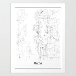 Seattle, United States Minimalist Map Art Print