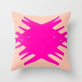 Accordian Summer X | neon pink, peach Throw Pillow