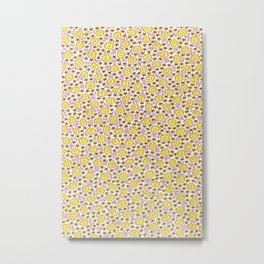 Ditsy Flora Yellow Metal Print
