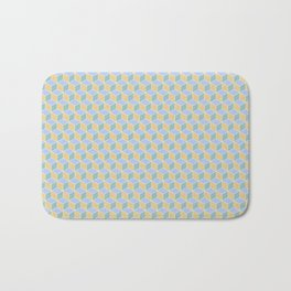 Yellow Sky Blue Cube Pattern Bath Mat
