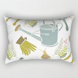 Spring background, gardening tools and snails Rectangular Pillow