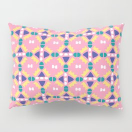 Pink and Yellow Geometric Crown Pillow Sham