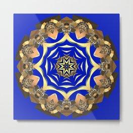 Gold Ornament Fractal (zaffre blue background) Metal Print