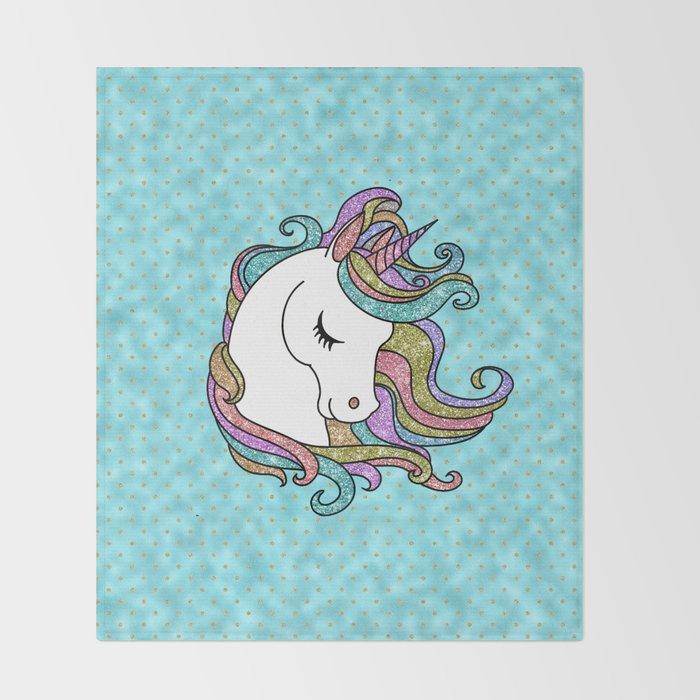 Turquoise Blue Faux Glitter Unicorn Rug Throw Blanket