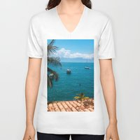 boats V-neck T-shirts featuring Boats by Mauricio Santana