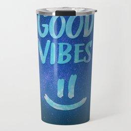Good Vibes - Funny Smiley Statement / Happy Face (Blue Stars Edit) Travel Mug