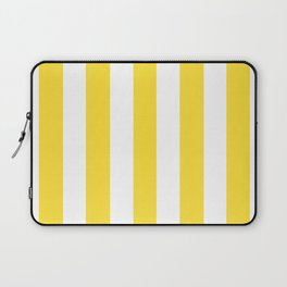 Banana yellow - solid color - white vertical lines pattern Laptop Sleeve