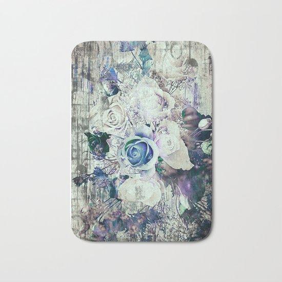 Retro abstract geometric floral Bath Mat
