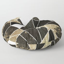 Modern Rustic Black White and Faux Gold Geometric Floor Pillow