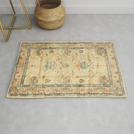 Fine Crafted Old Century Authentic Colorful Yellow Dusty Blues Greys Vintage Rug Pattern Rug