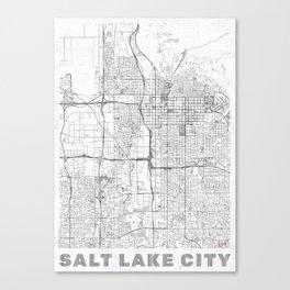 Salt Lake City Map Line Canvas Print