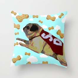 Super Pug Saves All Throw Pillow