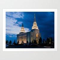 Kansas City, Missouri Temple at Night Art Print