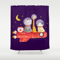 bruno mars Shower Curtains featuring Let's All Go To Mars by Picomodi