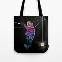 chameleon Tote Bags featuring chameleon by merry