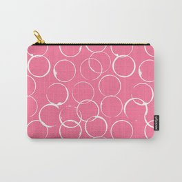 Circles Geometric Pattern Pink Bright White Carry-All Pouch