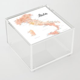 Rose gold Italy map in watercolor Acrylic Box