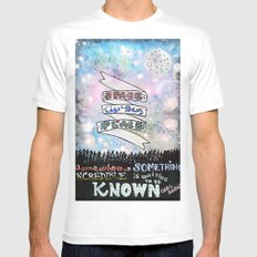 Space Is The Place MEDIUM White Mens Fitted Tee