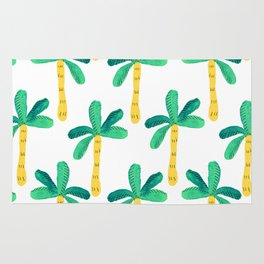 Watercolor Palm Trees in Yellow Rug