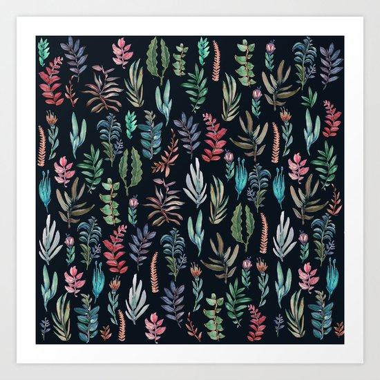 water color leaves color leaves Art Print