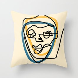 Blue Face Throw Pillow