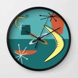 Turquoise Atomic Era Space Age Wall Clock