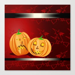Pumpkins and spooky witches Canvas Print