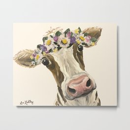 Cow Art, Flower Crown Cow Art Metal Print