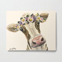 Cow Art, Flower Crown Cow Art Metal Print
