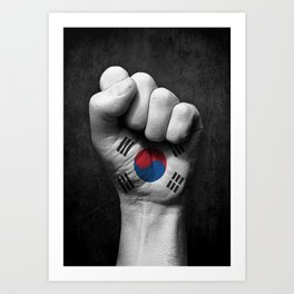 South Korean Flag on a Raised Clenched Fist Art Print
