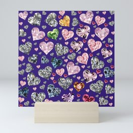 Heart Diamonds are Forever Love Violet Mini Art Print