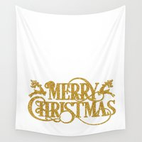 merry christmas Wall Tapestries featuring Merry Christmas by Better HOME