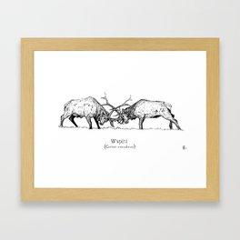 Wapiti fight Framed Art Print