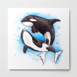 Orca Playing Metal Print