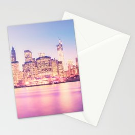New York City Skyline - Lights Stationery Cards