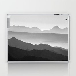 Mountains fog. Sunset Laptop & iPad Skin