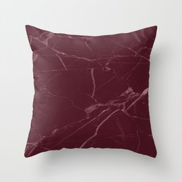 modern burgundy marble look Throw Pillow
