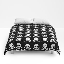 Skull and XBones in Black and White Comforters