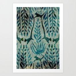 Cat Amongst The Palms Green Art Print