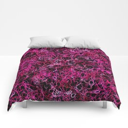 Hot Pink and Black Electric Lines Comforters