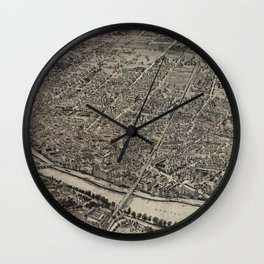 Vintage Pictorial Map of New Brunswick NJ (1910) Wall Clock