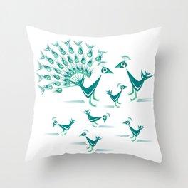 Peacock Family Throw Pillow