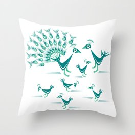 Peacock Family Throw Pillow