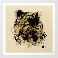leopard Art Prints featuring Leopard by DIVIDUS