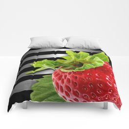 Strawberry Black & Silver Metallic Stripes Comforters