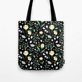 Colourscape Summer Floral Pattern Black Tote Bag