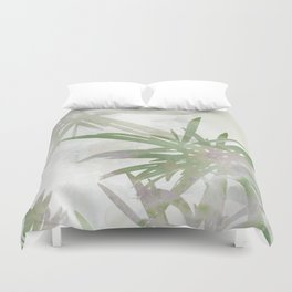 Olive Green Palm Leaves Watercolor Painting Duvet Cover