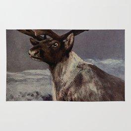 Vintage Reindeer Painting (1909) Rug